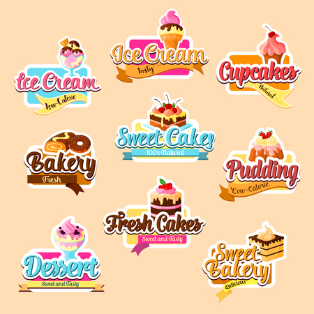 Desserts vector stickers for bakery shop. Vector isolated set of pastry sweets and patisserie cakes, chocolate brownie biscuit, ice cream and cupcakes or cookies, tiramisu or roll tortes and waffles Ilustração