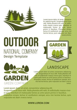 Buiten groen landschap en tuin ontwerpen van bedrijf en tuinbouw organisatie poster ontwerpsjabloon. Vector park of bos bomen en bossen groen, eco parkland planten voor tuinieren Stock Illustratie