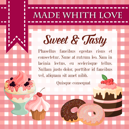 Bakery vector desserts and pastry cakes poster Ilustração