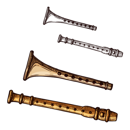 Vector sketch icon flute pipe musical instrument