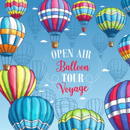 Vector poster for hot air balloon tour voyage Stock Vector - 79622526