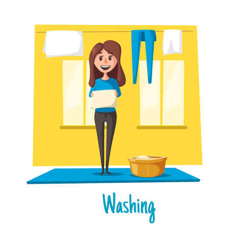 Vector poster of woman and laundry washing