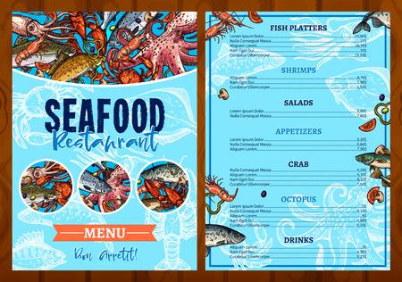 Vector menu for seafood fish restaurant Vettoriali