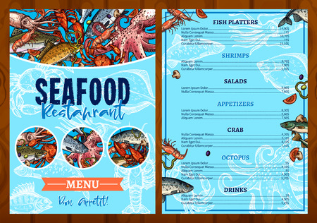 Vector menu for seafood fish restaurant Reklamní fotografie - 79622543