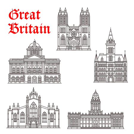 liverpool: Great Britain architecture landmarks vector icons