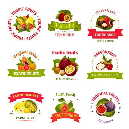 Exotische Früchte Symbole für Bauernhof oder Markt. Vektor isoliert Symbole. Standard-Bild - 79572975