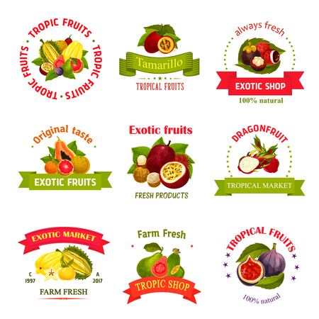 Exotic fruits icons for farm store or market. Vector isolated symbols.