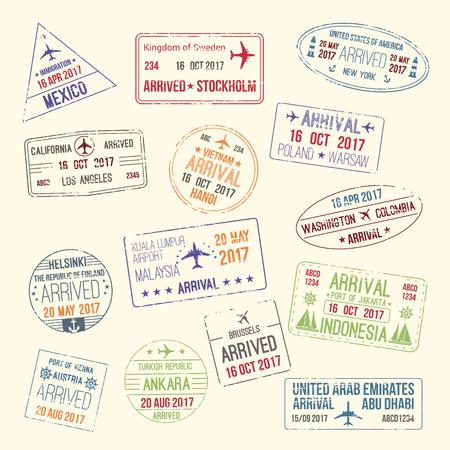 Icone di francobolli di viaggio passaporto con nomi di città del Messico, Stoccolma e California o New York. Archivio Fotografico - 79573025