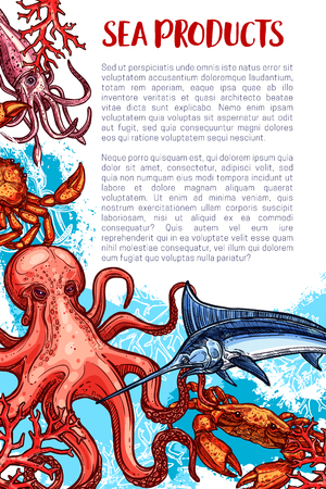 Seafood or fish sea food fishing product poster. Vector design of fisherman catch.