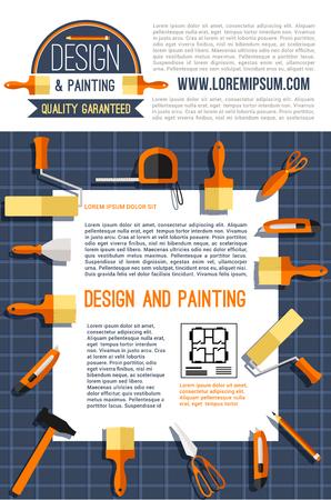 Huisontwerp en schilderij poster voor bouwbedrijf. Vectorontwerp van huisplan en het werkhulpmiddelen.