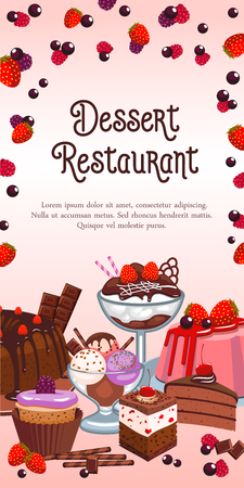 Dessert restaurant banner or menu template. Vector design of homemade pastry and sweets.