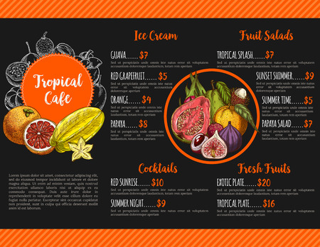 cocteles de frutas: Tropical cafe menu vector template for exotic fruit fresh juice cocktails, salads or ice cream desserts. Vectores