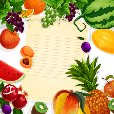 Vector recipe blank of fresh exotic fruits
