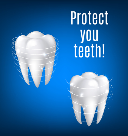 Teeth protection poster of white tooth in 3D realistic vector isolated icon with protection sparkling lines.