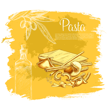 tortellini: Italian pasta vector poster for restaurant