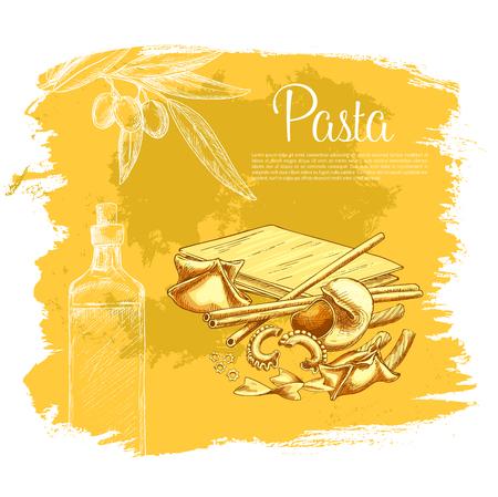 Italian pasta vector poster for restaurant