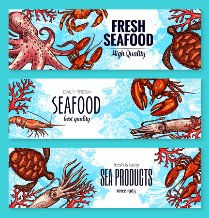 Vector seafood and fish sea product banners