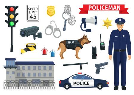 Vector pictogrammen van politieagent beroep en politie