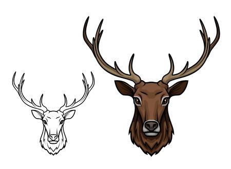 사슴 또는 순록 스케치 벡터 아이콘입니다. 야생 숲 사슴 또는 뿔을 가진 엘크. 일러스트