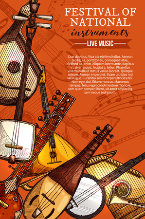 National musical instruments festival poster for folk music concert. Çizim