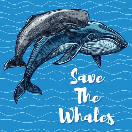 Bewaar walvissen poster voor het redden van zee dier concept.