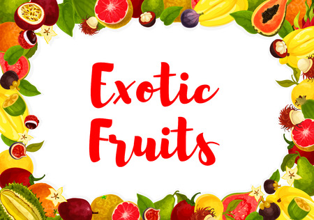 Exotic fruits poster for farm market or store. Vector design of banana, orange and guava or papaya, tropical pineapple. Illustration
