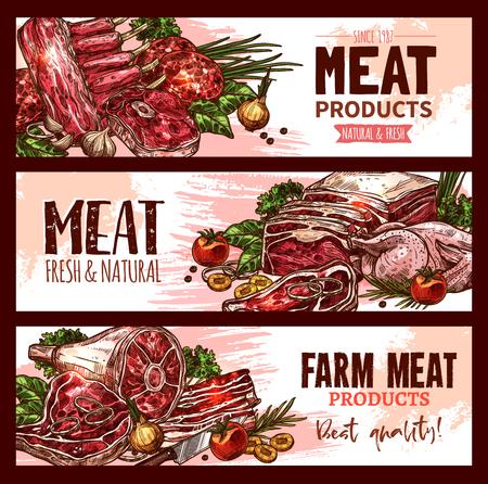 Banners de productos cárnicos de carnicería establecidos para el mercado de agricultores.