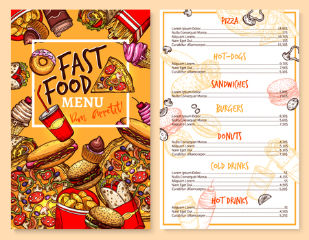 Fast food menu template of snacks and meals Vector Illustration