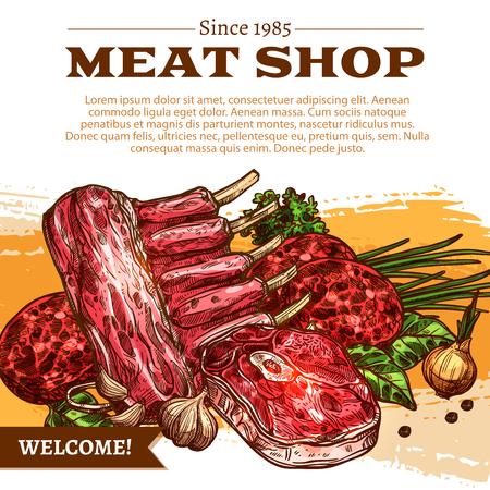 肉屋の製品ベクター デザインの肉店ポスター