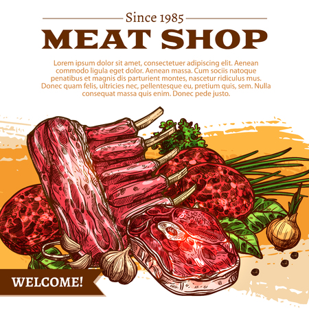 Meat shop poster of butchery products Vector design Illustration