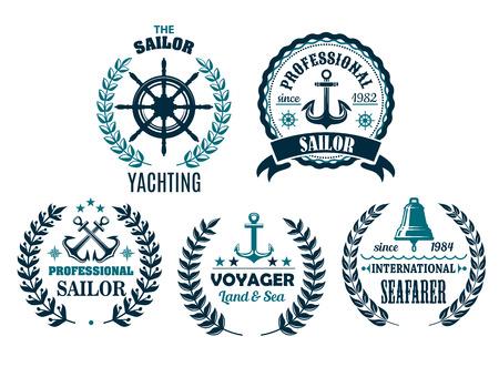 ヨットの航海の紋章アイコンのベクトルを設定  イラスト・ベクター素材