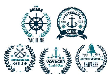 Vector set of nautical heraldic icons for yachting Stok Fotoğraf - 79573939