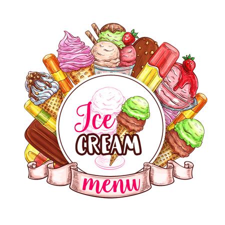 Modèle de vecteur menu glace Banque d'images - 79574848