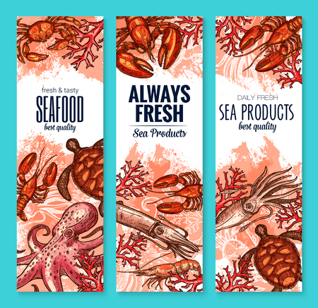 Vector seafood and fish food product banners
