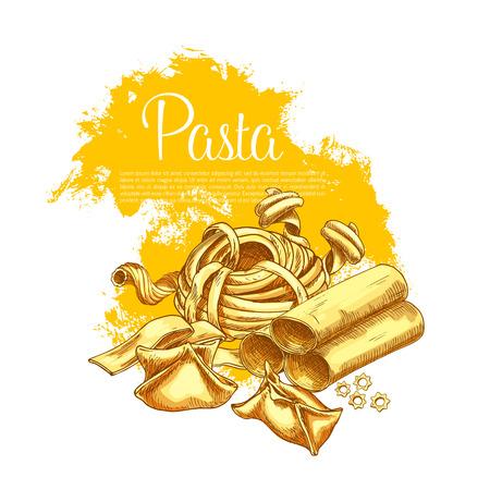 이탈리아 레스토랑을위한 파스타 벡터 포스터