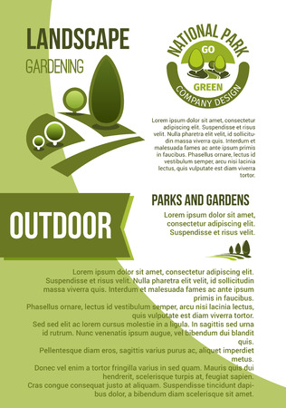 Gardens and parks landscape design vector poster Illustration