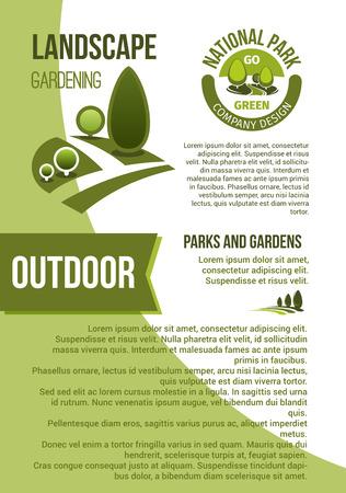 Tuinen en parken landschapsontwerp vector poster