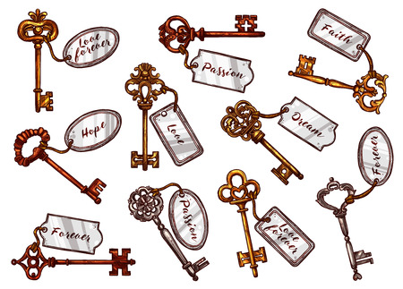A Vector sketch vintage keys with keychain tags