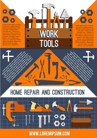 벡터 집 수리 작업 도구 포스터입니다.