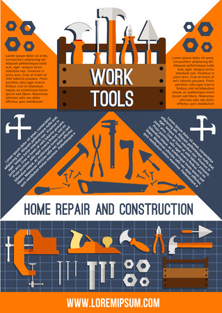 A Vector house repair work tools poster.