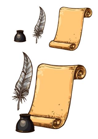오래 된 종이 롤 및 잉크 깃털 펜의 벡터 아이콘 일러스트