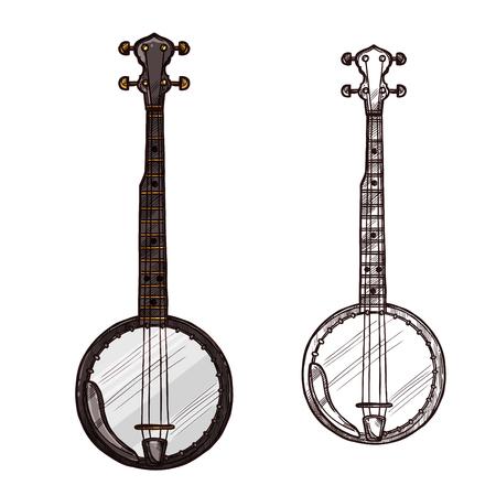 A Vector sketch banjo guitar musical instrument