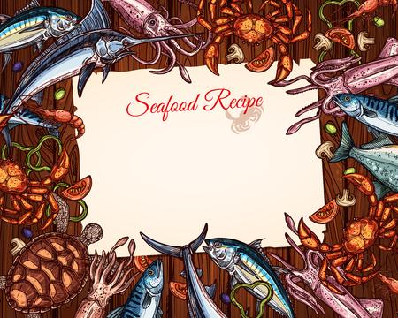 Een Vector kook recept sjabloon van zeevruchten en vis. Stock Illustratie