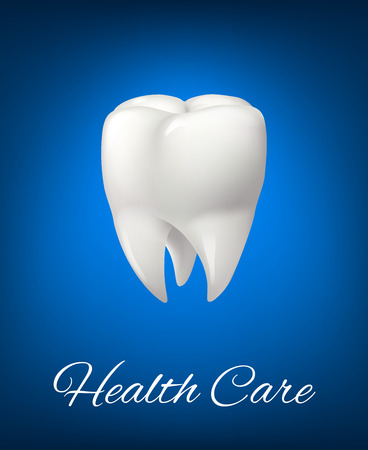 Vector 3D white tooth for dentistry health care Illustration