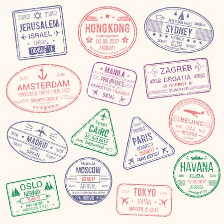 여행 도시 여권 스탬프 벡터 아이콘입니다.