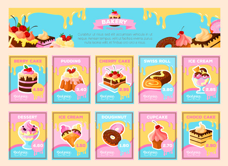 Bakery desserts vector price cards for shop Illustration