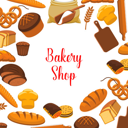 Bakery shop vector poster of baked bread Çizim
