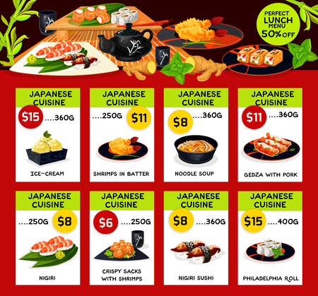 A Vector lunch menu templates for Japanese cuisine