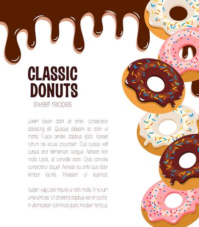 도너츠 케이크와 디저트를위한 벡터 포스터.