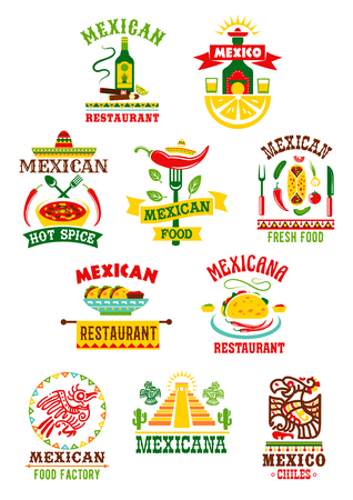メキシコのファーストフードのレストランのためのベクター アイコン セット。